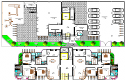 Ground and first floor layout plan details of multi-flooring apartment flats dwg file.