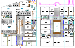 Ground and first floor layout plan details of shopping center dwg file