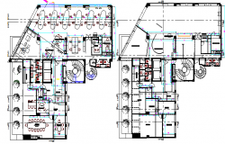 Ground and first floor layout plan of amplification office dwg file