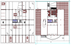 Ground and first floor layout plan of corporate building dwg file
