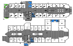 Ground and first floor layout plan of office building dwg file