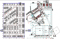 Ground and first floor plan details of convention center dwg file