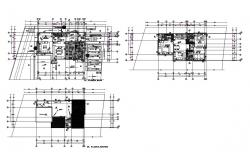 Ground and first floor plan details of house with cover plan dwg file