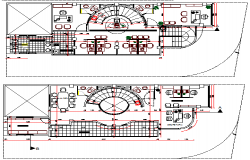 Ground and first floor plan details of office and shop building dwg file