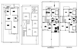 Ground and first floor plan details of one family house dwg file