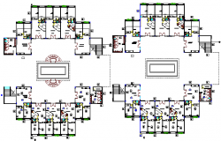 Ground and first floor plan layout of government building project dwg file