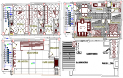 Ground and first floor plan layout of multi flooring housing building dwg file