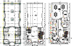 Ground & first floor plan layout of school, sanitary installation details dwg file