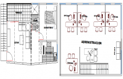 Ground and first floor plan layout of two flooring press office dwg file