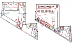 Ground and first floor plan layout plan of administration office dwg file