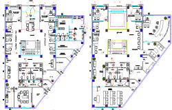 Ground and first floor plan of government customer service center dwg file