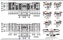 Ground and first floor structure with construction details dwg file