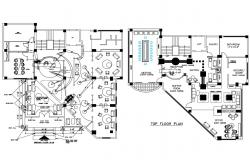 Ground and top floor plan details of office building dwg file