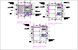 Ground floor, first floor, second floor, third floor plan view detail of concrete slab and column detail dwg file