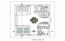 Ground floor Layout working plan detail dwg file