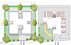 Ground floor and car parking lot details of apartment flats project dwg file