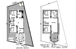 Ground floor and first floor house dwg file