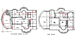 Ground floor and first floor house plan detail dwg file