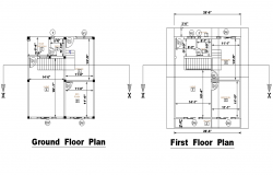 Ground floor and first floor house plan layout file