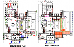 Ground floor and first floor plan detail dwg file