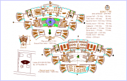 Ground floor and first floor plan of collage dwg file