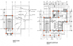 Ground floor and roof house plan detail dwg file