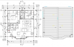 Ground floor and roof plan autocad file