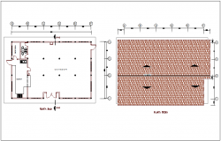 Ground floor and roof plan for house for feeding of restaurant dwg file