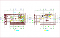 Ground floor and roof plan of annex building dwg file