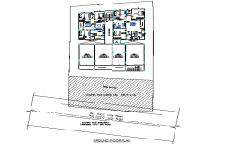 Ground floor apartment plan detail dwg file