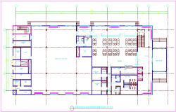 Ground floor design view of building dwg file
