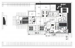 Ground floor layout plan details of administrative building dwg file