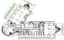 Ground floor layout plan details of corporate building dwg file