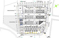 Ground floor layout plan details of shopping center dwg file
