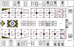 Ground floor layout plan details of square market dwg file