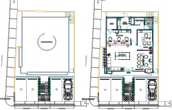 Ground floor plan details of bank branch office dwg file