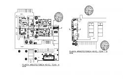 Ground floor plan details of multi-level civil hospital dwg file