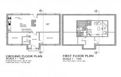 Ground floor plan of House with different  Section in Autocad