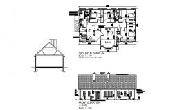 Ground floor plan of House with front Elevation in dwg file