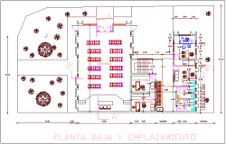 Ground floor plan of city hall dwg file