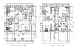 Ground floor plan of house with detail dimension in dwg file