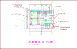 Ground floor plan of office building with architectural view dwg file