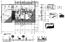 Ground floor plan of office with detail dimension in AutoCAD