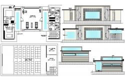 Ground floor plan of the gym with elevation in dwg file