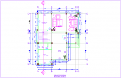 Ground floor plan with residence of house dwg file