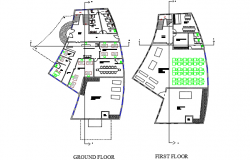 Ground floor to first floor plan detail dwg file