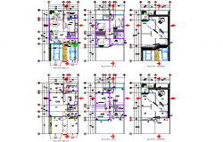Ground floor to roof floor house plan detail dwg file