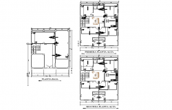 Ground floor to roof house plan detail autocad file