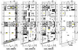 Ground floor to roof plan single family home detail layout file
