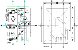 Ground floor to terrace house plan autocad file
